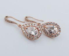 JESS - Rose Gold CZ Bridal Earrings
