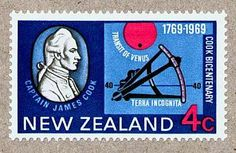 "New Zealand stamp commemorating the bicentenary of Captain James Cook's first voyage to the South Pacific. It depicts Cook, the 1769 transit of Venus, and an octant (a navigational instrument, forerunner of the sextant) superimposed on the latitude line of 40 degrees. An undiscovered continent was thought by some to lie south of this, but Cook showed that it didn't exist. (photo: Ian Ridpath) Mona Evans, ""Transit of Venus – Captain Cook 1769"" http://www.bellaonline.com/articles/art28591.asp"