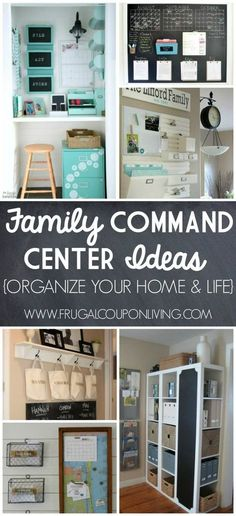 Inspiring Home Command Centers Ideas on Frugal Coupon Living. Organize your life and home before the Back to School Season. Home Organizing Tips and Ideas.