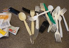 Have a drawer full of mismatched plastic takeaway & delivery utensils? Think of them as free Art Tools: Use SPOONS to get small amounts of paint into a jar for mixing without having to load a brush.  Or you can get a small amount in the spoon, & paint directly from it. Use FORKS to scrape fine lines into paint medium. Break off tines, as needed.   Use KNIVES as palette knives, + they often have a serrated side which create texture in paint. Break off some tiny teeth to make grooves more…