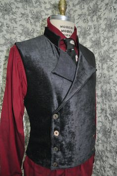 "Ready to Ship--Black Velvet Sweeney Todd Style--Mens Vest-- Victorian--Steampunk Vest--Size 42""-44"" Chest. $140.00, via Etsy."