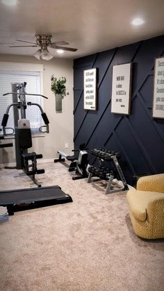 Workout Room Home, Gym Room At Home, Home Gym Decor, Home Gyms, Workout Room Decor, Workout Rooms, Accent Walls In Living Room, Living Room Decor, Paint Accent Walls