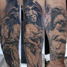Religious angel tattoo by Carlos Torres.