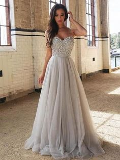 Cheap Glorious Prom Dresses Long Chic Silver Prom Dress Cheap Long Prom Dress With Beading Straps Prom Dresses, A Line Prom Dresses, Cheap Prom Dresses, Prom Party Dresses, Evening Dresses, Long Dresses, Prom Gowns, Grey Dresses, Dance Dresses