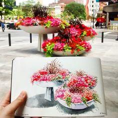 Toronto Urban Sketchers : My Travel Watercolour Palette Flower Pots, Flowers, Urban Sketchers, Art Journals, Watercolor, Watercolour Palette, Floral Wreath, Doodles, Table Decorations