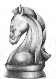 Chess horse drawing by Riancaa on DeviantArt Art Drawings For Kids, Art Drawings Sketches Simple, Animal Sketches, Pencil Art Drawings, Realistic Drawings, Charcoal Sketch, Charcoal Art, Shading Drawing, Pencil Shading