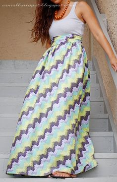 Awesome idea! Take a tank top and some fabric, sew it together, and voila! Instant maxi dress. Super cute!
