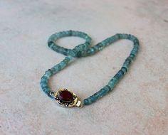 Aquamarine Ruby Gemstone Necklace www.kimberlyhahnstreasures.com