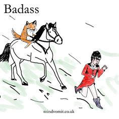 30 Days of Badass: Final Comic!  Badass fox chasing fox hunter. I guess he just had enough and thought f*ck it. http://mindvomit.co.uk