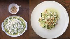 Zucchini Feta Salad with Pine Nuts Fresh Mint, The Fresh, Zucchini, Summer Starter, Feta Salad, Pasta, Starters, Pine, Stuffed Peppers