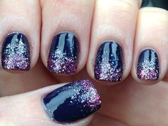 2014 Nail Art - Ombre Glitter in Pink and Silver Over Deep Purple - Perfect for Winter 2014!