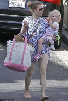Spotted: Actress Amy Adams wore Roberta Roller Rabbit's Tee Pee Nimes Dress around Los Angeles with her daughter Aviana.