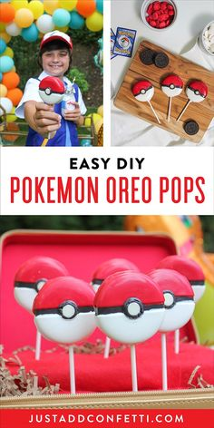 I'm excited to share a quick and easy DIY Pokemon party food with you today. I recently made these Pokemon Oreo Pops for Sawyer's Pokemon Birthday Party. Below are the simple step-by-step instructions. Also, if you are looking for more Pokemon party foods be sure to check out my DIY Pikachu Birthday Cake and Pikachu Ice Cream Cones!