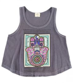 """Spread love and good fortune in the O'Neill girl's Hamsa tank top. This 100% cotton tank features a scoop neck and front graphic screen print. 17"""" in length from shoulder."""