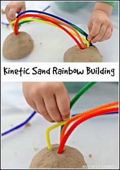 Kinetic sand rainbow building: fine motor sensory activity for kids from And Next Comes L (toddler arts and crafts fine motor) Rainbow Activities, Autism Activities, Sensory Activities, Infant Activities, Sensory Tubs, Color Activities, Sensory Play, Fine Motor Activities For Kids, Motor Skills Activities