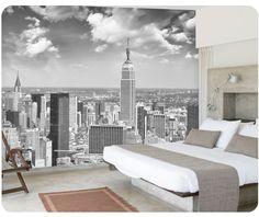 In bianco e nero new york murales carta da parati 3d stereo europeo urbano soggiorno camera da letto tv sfondo carta da parati carta da parati(China (Mainland))