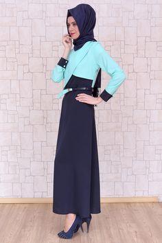 Omuzu Düğmeli Mint Elbise, polyester kumaştan, astarsız ve 140 cm boyunda Pay Butik tarafından üretilmiştir.