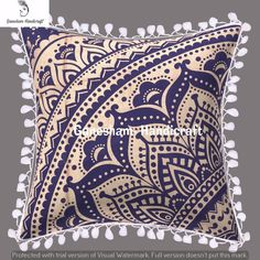"Mandala Housse de Coussin 16/"" X 16/"" Silk Pillow Sofa Throw Indian Bohemian Decor"