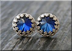 September Sapphire Earrings. Sterling Silver by thewrappedpixie