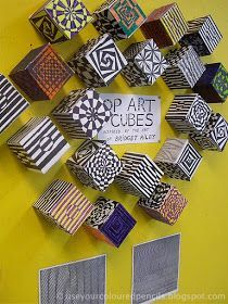 Use Your Coloured Pencils: Op Art Cubes - what a great math/art activity! 3d Art Projects, Art Education Projects, Sculpture Projects, 6th Grade Art, Math Art, Artists For Kids, Art Lessons Elementary, Op Art Lessons, Elements Of Art