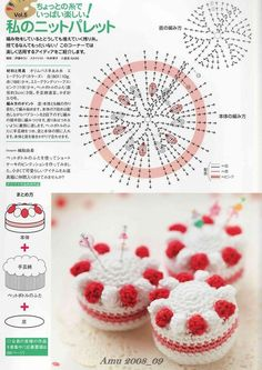 39 Patterns of sympathetic Amigurumis ll (Patterns in Spanish) Crochet Pincushion, Crochet Cake, Crochet Fruit, Crochet Food, Crochet Crafts, Crochet Doilies, Crochet Flower Patterns, Crochet Patterns Amigurumi, Crochet Flowers
