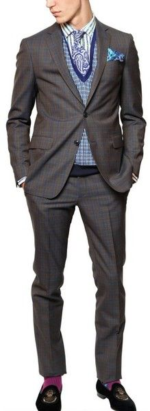 Etro Signature ~ Checked Wool 2 Button Suit