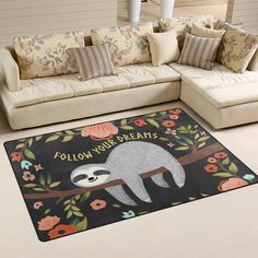 Yochoice Non-slip Area Rugs Home Decor, Hipster Cute Baby Sloth Tree Floral Flowers Floor Mat Living Room Bedroom Carpets Doormats 60 x 39 inches >>> Click on the image for additional details. (This is an affiliate link) #AreaRugsRunnersandPads