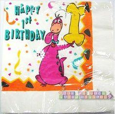(16) FLINTSTONES DINO 1st Birthday LARGE NAPKINS ~ Vintage Party Supplies