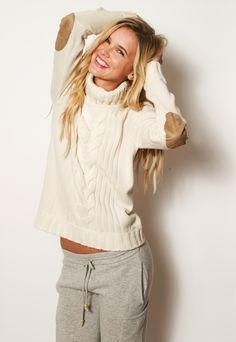 AW 2012 Speakeasy Cable Cashmere Sweater -elbow patches