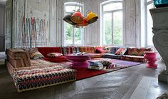 Bohemian Living Room featuring Roche Bobois Mah Jong Modular Sofa, Missoni Home Bohemian Living Spaces, Bohemian Room, Sofa Colors, Colours, Decoration Inspiration, Decor Ideas, Decorating Ideas, Contemporary Sofa, Home Living