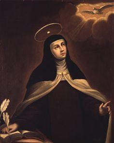 "SantaTeresa - Teresa of Ávila - ""It is love alone that gives worth to all things. Teresa of Avila Catholic Saints, Patron Saints, Roman Catholic, Ste Therese, Saint Teresa Of Avila, Contemplative Prayer, Catholic Online, D Avila, Tao"
