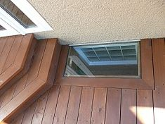 how to build a deck around a window well - Ecosia Basement Window Well, Basement Windows, Basement Walls, Basement Bathroom, Basement Window Coverings, Basement House, Basement Finishing, Front Deck, Diy Deck