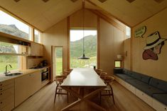 """This project for a summer retreat is an addition to, and rehabilitation of an old """"Nordlandshus"""" (traditional northern Norwegian house) on a remote site in the coastal island area of Lofoten. Lofoten, Plywood House, Plywood Kitchen, Norwegian House, Plywood Interior, Interior Architecture, Interior Design, Design Interiors, Home Additions"""
