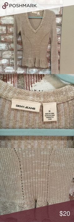 DKNY sweater Beautiful beige DKNY sweater with awesome detail. In great condition. Size M. DKNY Sweaters V-Necks