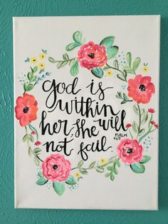 Canvas Quote God is within her she will not