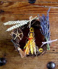 Handmade Pagan Wiccan Litha Goddess Wreath. Summer Solstice Decoration.