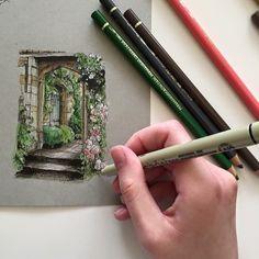 #art #drawing #pen #sketch #illustration #architecture #garden #englishgarden
