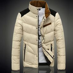 Gender: Men Outerwear Type: Down & Parkas Clothing Length: Regular Cuff Style: Conventional Fabric Type: Broadcloth Collar: Turn-down Collar Sleeve Style: Regular Pattern Type: Patchwork Style: Fashio