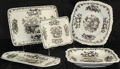 """Mason's Black """"Fruit Basket"""" Bread Tray 10 5/8"""" x 7 1/2"""",  Wafer/Biscuit Tray (7 1/4"""" x 5 3/4""""),  Square 9"""" Plate, Small  (11"""" x5 1/2"""") Handled Sandwich Tray and Gadroon 9"""" Square Dessert  Bowl (2 ea)"""