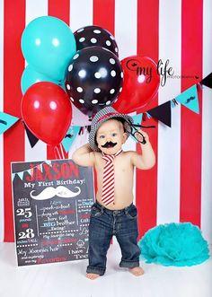 Birthday Boy Mustache Customized Chalkboard Poster - Red, Aqua, and Grey - Digital File