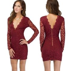 Lace Floral V-neck Backless Long Sleeve Short Dress. Sexy Party ... 2cd54d6f0