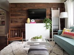 Living Room Tour | plank wall and blanket ladder Cape27Blog.com