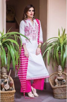 Tacfab Exclusive Semi-Stitched Printed White and Pink Designer Cotton Salwar Kameez - BAN112 To shop here: http://goo.gl/qdmi9d