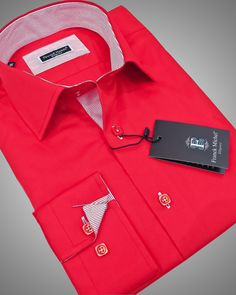 RED ITALIAN SHIRT | MILANO RED WITH WHITE AND RED STRIPES      JUST AT $99