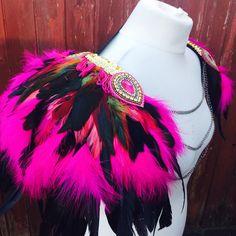 Pink festival feather Burning Man feather wings, pink festival feather shoulderpieces, feather festival epaulettes, tribal burning man wings by feathersandthreaduk on Etsy