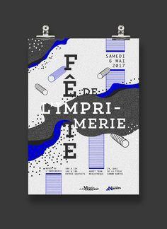 POSTER FÊTE DE L'IMPRIMERIE, NANTES. France. Offset. Bichromie. Points et lignes. Courbes. Graphic design. Manon Bougeard on Behance