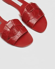 Image 6 of LEATHER CROSSOVER SANDALS from Zara