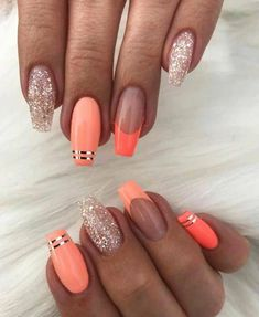 Coral Summer Nail Art Design Looking for some nail ideas? These stylish nail designs will inspire your next manicure and have your fingers looking fashionable in no time. Summer Acrylic Nails, Best Acrylic Nails, Coral Acrylic Nails, Acrylic Nail Designs For Summer, Coral Nail Art, Coral Nails With Design, Summer Nails Neon, Neon Nail Art, Nails Design