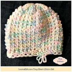 Tiny Heart Stitch Hat - FREE pattern for a child or adult loom knit beanie hat. This little cap is a perfect chemo cap. The stitch is dense, warm and fitted