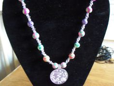 """22"""" necklace with painted flower beads, glass beads and frosted pink design pendant by StrungOnLove on Etsy"""